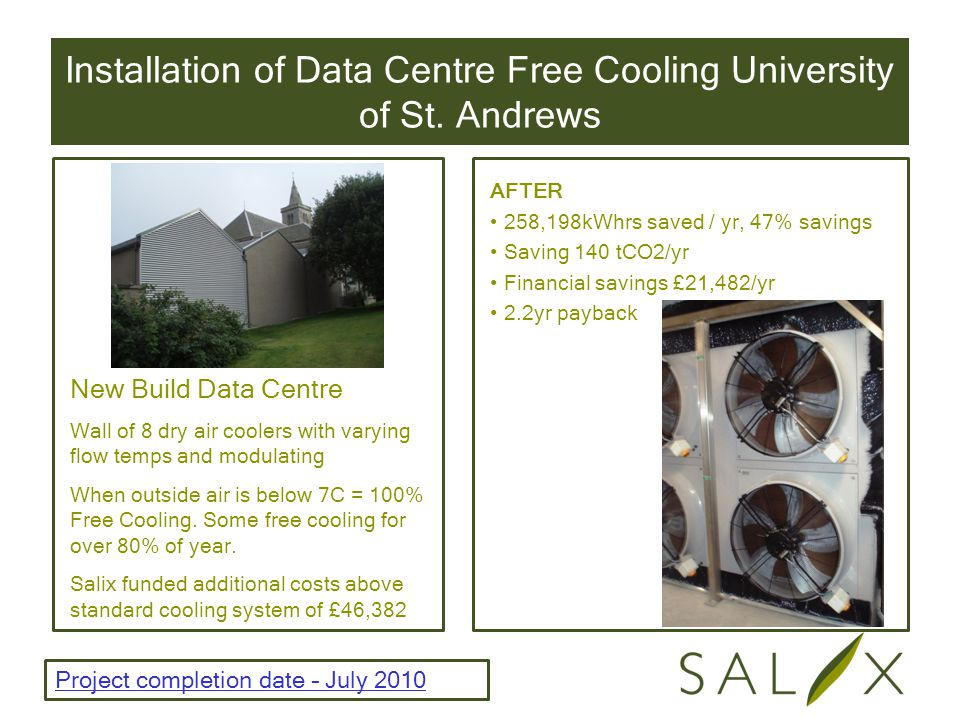 Installation of Data Centre Free Cooling University of St.