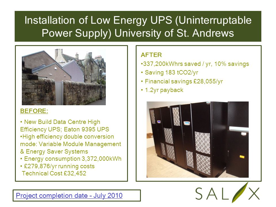 Installation of Low Energy UPS (Uninterruptable Power Supply) University of St.