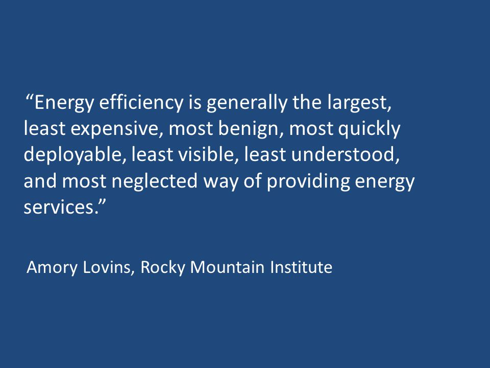 Energy efficiency is generally the largest, least expensive, most benign, most quickly deployable, least visible, least understood, and most neglected way of providing energy services. Amory Lovins, Rocky Mountain Institute