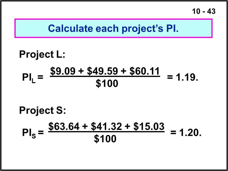 10 - 43 Calculate each project's PI. Project L: $9.09 + $49.59 + $60.11 $100 Project S: $63.64 + $41.32 + $15.03 $100 PI L = = 1.19. PI S = = 1.20.
