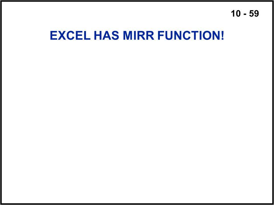 10 - 59 EXCEL HAS MIRR FUNCTION!
