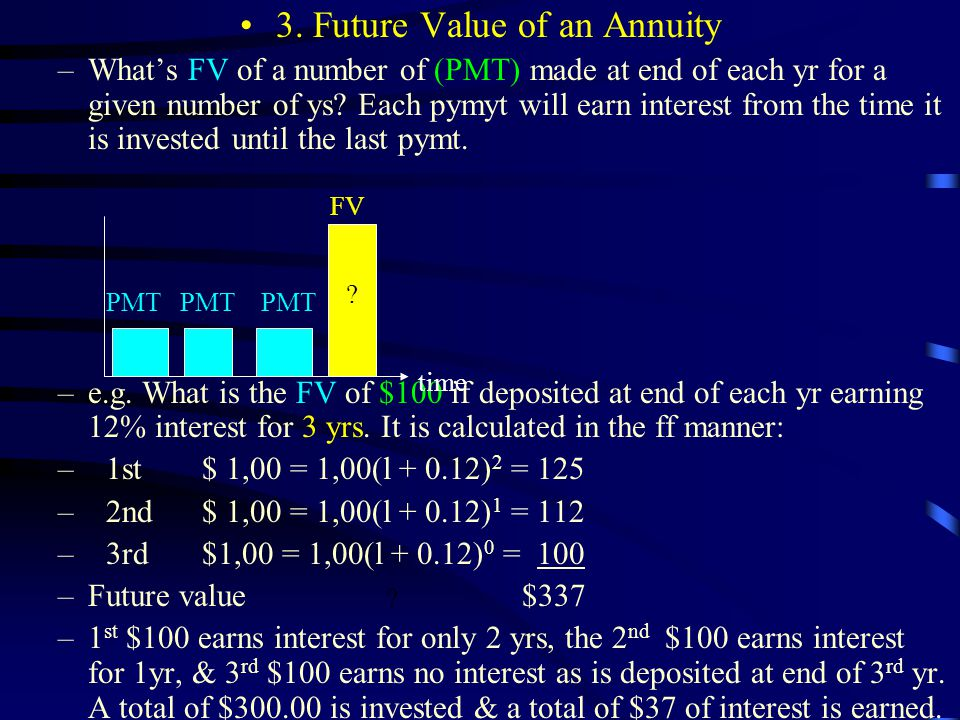 3. Future Value of an Annuity –What's FV of a number of (PMT) made at end of each yr for a given number of ys? Each pymyt will earn interest from the