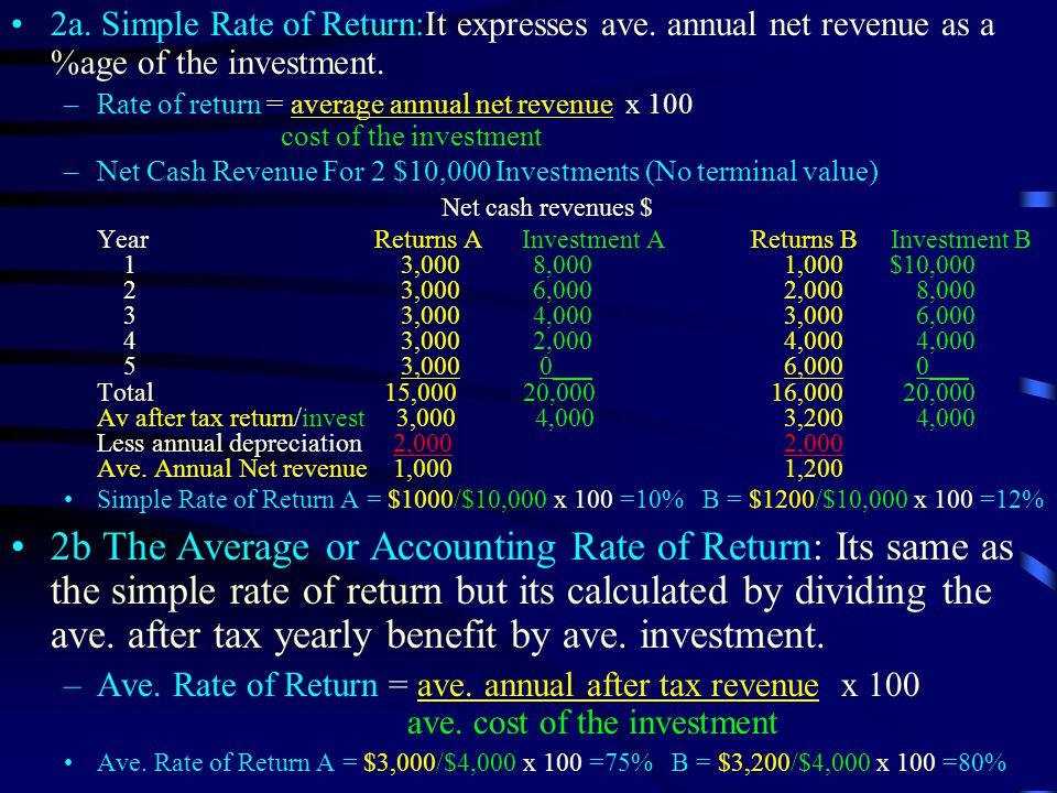 2a. Simple Rate of Return:It expresses ave. annual net revenue as a %age of the investment.