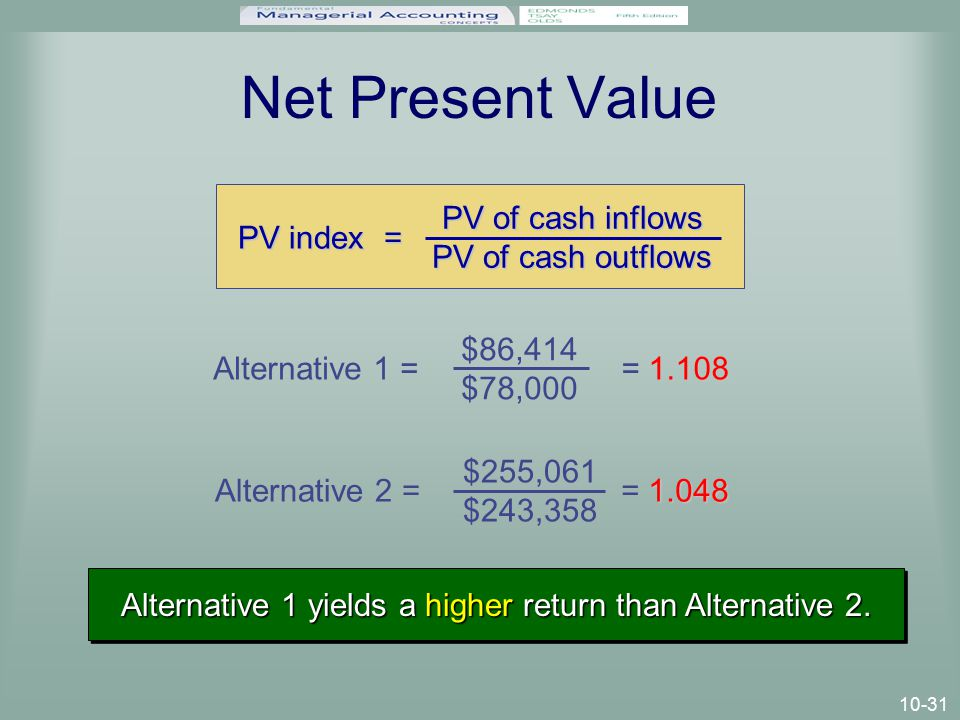 10-31 Net Present Value PV index = PV of cash inflows PV of cash outflows Alternative 1 = 1.108 = 1.108 $86,414 $78,000 Alternative 2 = 1.048 = 1.048 $255,061 $243,358 Alternative 1 yields a higher return than Alternative 2.