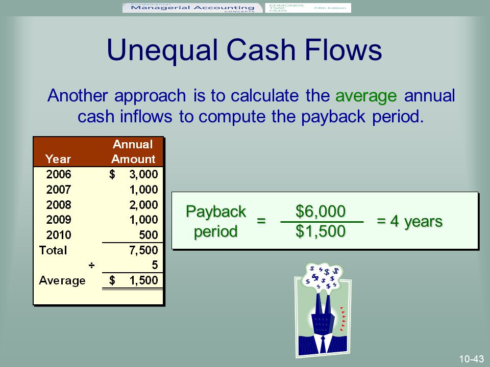 10-43 Unequal Cash Flows average Another approach is to calculate the average annual cash inflows to compute the payback period.