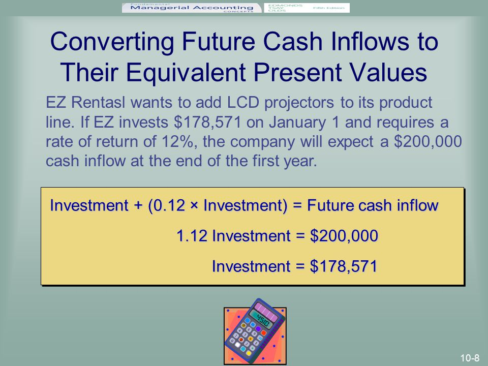 10-8 Converting Future Cash Inflows to Their Equivalent Present Values EZ Rentasl wants to add LCD projectors to its product line.