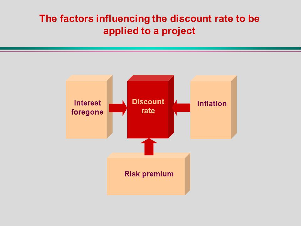 Interest foregone Inflation Discount rate Risk premium The factors influencing the discount rate to be applied to a project