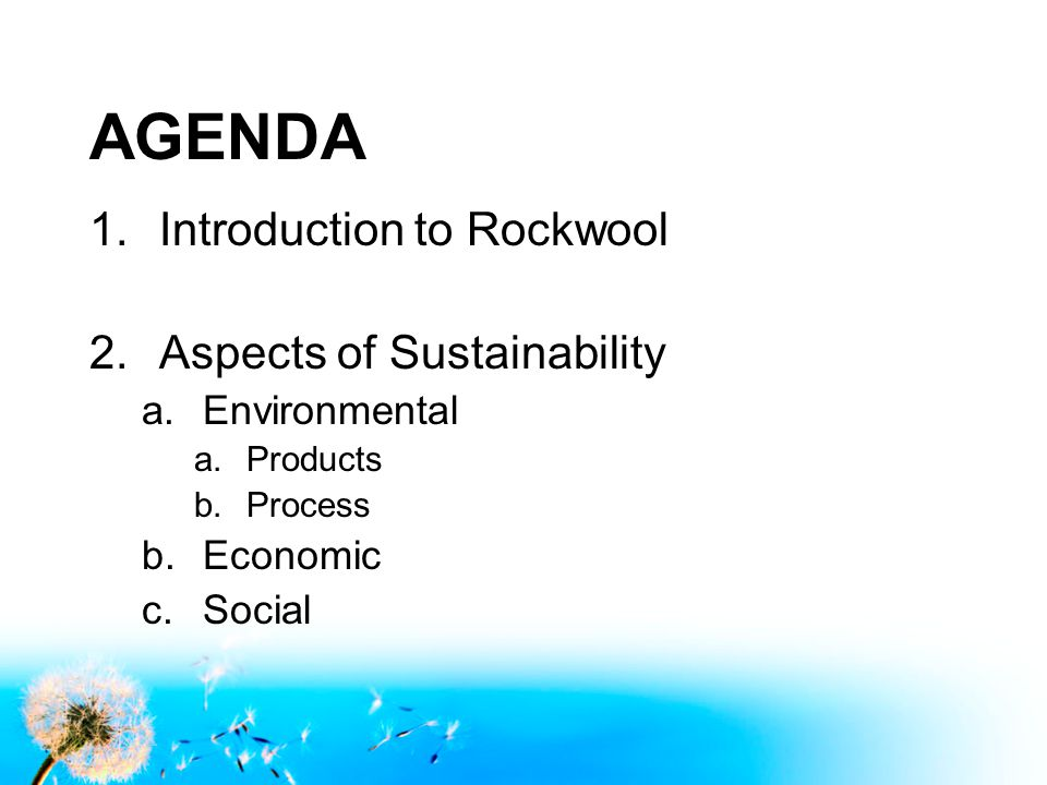 AGENDA 1.Introduction to Rockwool 2.Aspects of Sustainability a.Environmental a.Products b.Process b.Economic c.Social