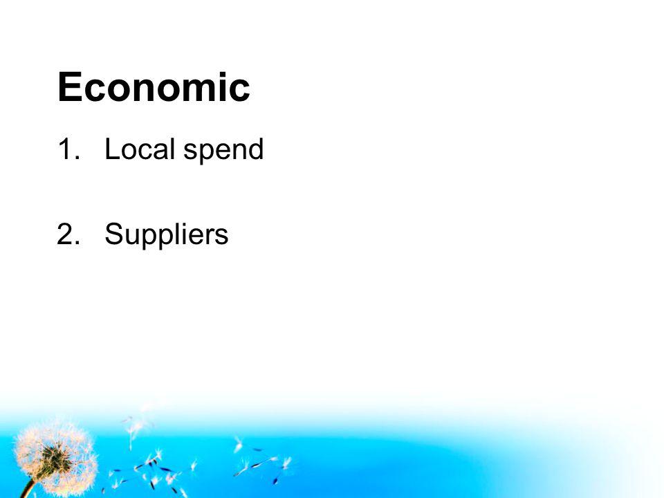 Economic 1.Local spend 2.Suppliers