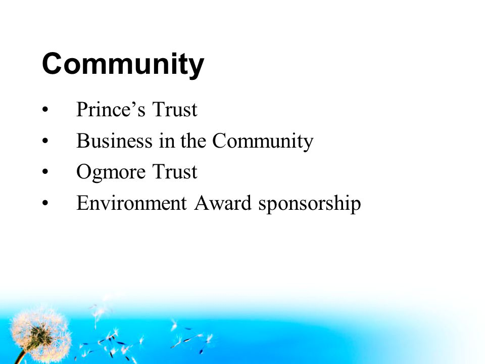 Community Prince's Trust Business in the Community Ogmore Trust Environment Award sponsorship