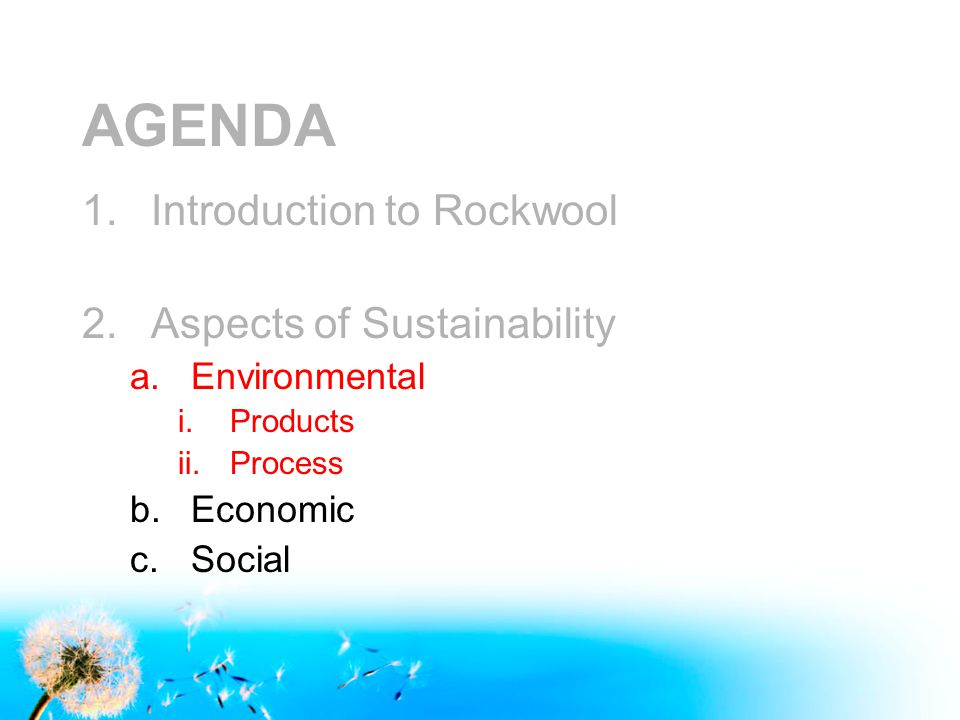 AGENDA 1.Introduction to Rockwool 2.Aspects of Sustainability a.Environmental i.Products ii.Process b.Economic c.Social