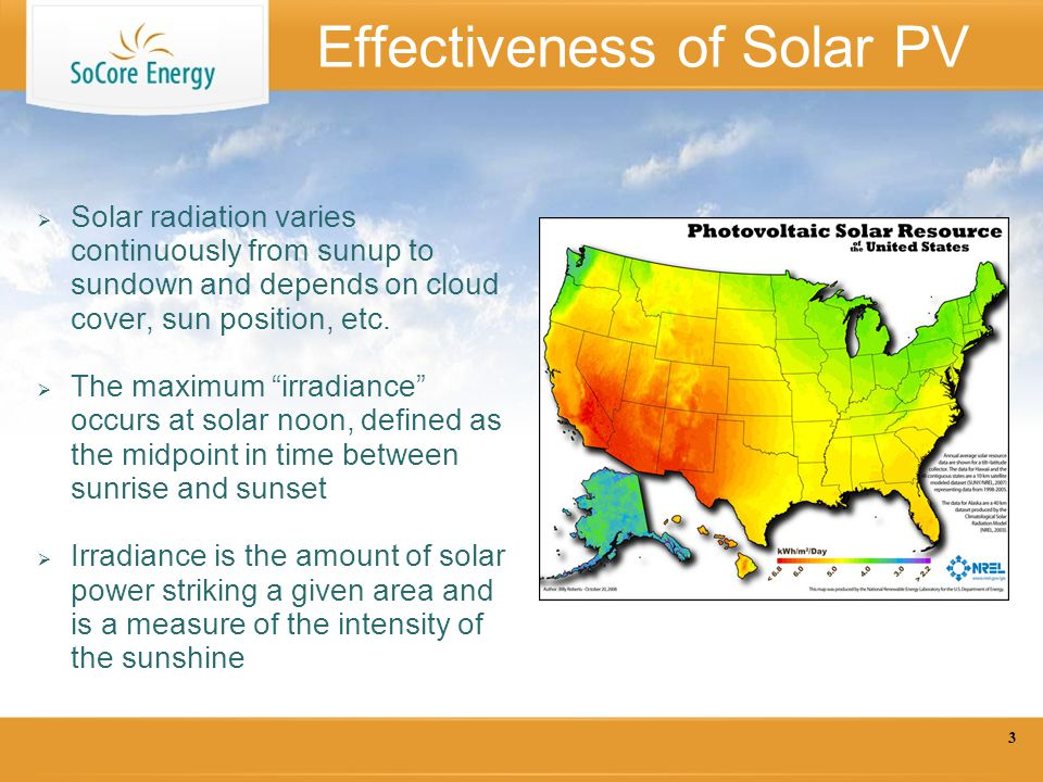 Effectiveness of Solar PV  Solar radiation varies continuously from sunup to sundown and depends on cloud cover, sun position, etc.