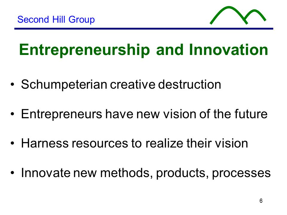 6 Entrepreneurship and Innovation Schumpeterian creative destruction Entrepreneurs have new vision of the future Harness resources to realize their vision Innovate new methods, products, processes Second Hill Group