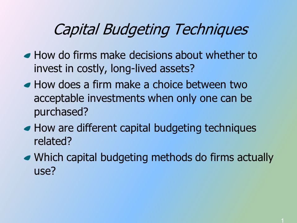 2 Capital Budgeting Introduction to Capital Budgeting Payback Period—traditional and discounted Net Present Value (NPV) Internal Rate of Return (IRR) Modified IRR Comparison of NPV and IRR NPV/IRR Ranking Conflicts/Cautions