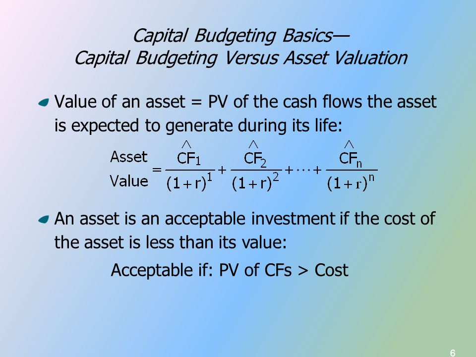 6 Capital Budgeting Basics— Capital Budgeting Versus Asset Valuation Value of an asset = PV of the cash flows the asset is expected to generate during its life: An asset is an acceptable investment if the cost of the asset is less than its value: Acceptable if: PV of CFs > Cost