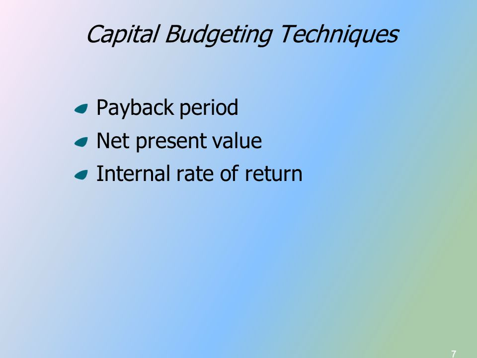 38 Capital Budgeting Techniques Illustrative Projects A & B 0(7,000)(8,000) 12,0006,000 21,0003,000 35,0001,000 43,000500 Cash Flow, Year Project AProject B CF A - CF B 1,000 (4,000) (2,000) 4,000 2,500 IRR of (CF A – CF B ) Cash Flow Stream = 16.15% At r = 16.15%, NPV A = NPV B = 302.37