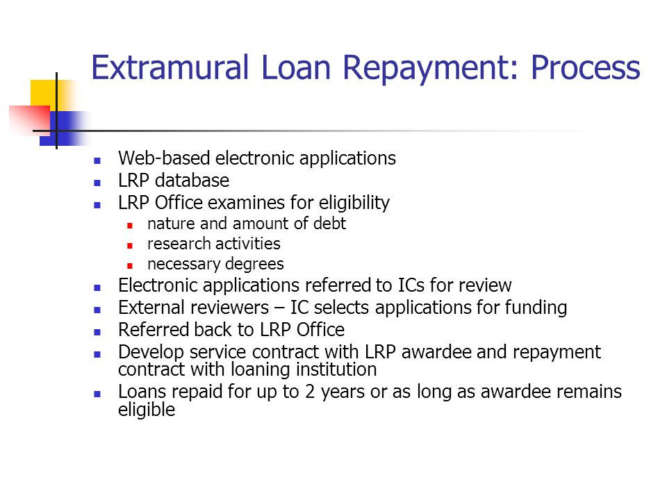 Extramural Loan Repayment: Process Web-based electronic applications LRP database LRP Office examines for eligibility nature and amount of debt research activities necessary degrees Electronic applications referred to ICs for review External reviewers – IC selects applications for funding Referred back to LRP Office Develop service contract with LRP awardee and repayment contract with loaning institution Loans repaid for up to 2 years or as long as awardee remains eligible