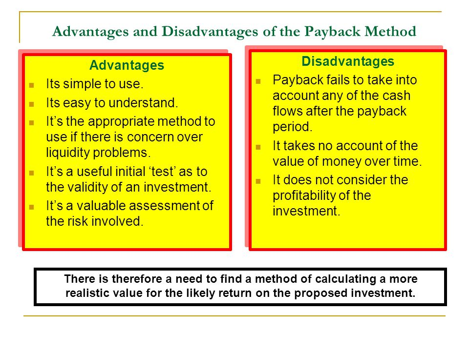 Advantages and Disadvantages of the Payback Method Advantages Its simple to use. Its easy to understand. It's the appropriate method to use if there i