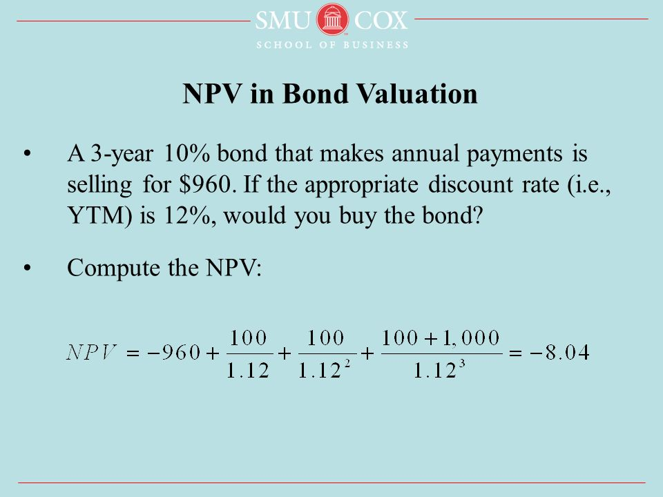 A 3-year 10% bond that makes annual payments is selling for $960.