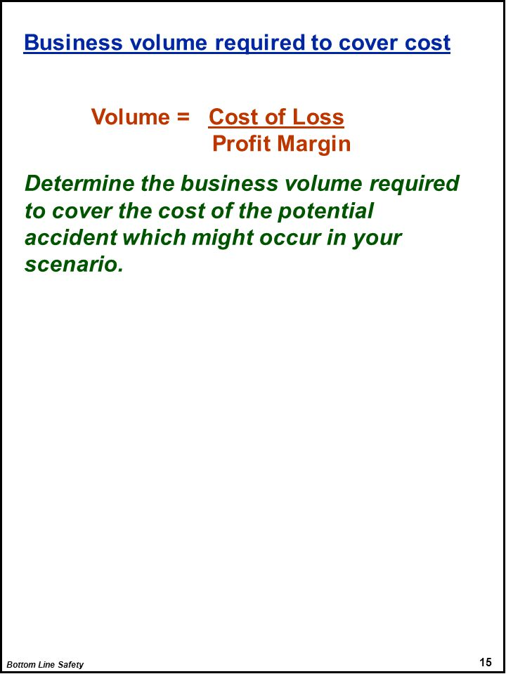 Bottom Line Safety 15 Business volume required to cover cost Volume = Cost of Loss Profit Margin Determine the business volume required to cover the cost of the potential accident which might occur in your scenario.