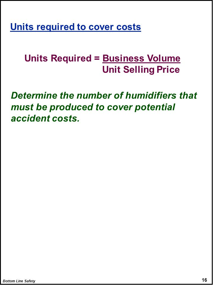 Bottom Line Safety 16 Units required to cover costs Units Required = Business Volume Unit Selling Price Determine the number of humidifiers that must be produced to cover potential accident costs.