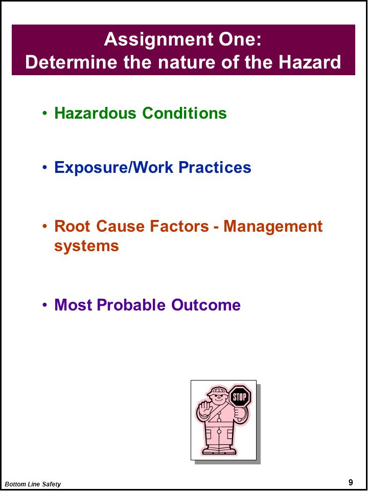 9 Assignment One: Determine the nature of the Hazard Hazardous Conditions Exposure/Work Practices Root Cause Factors - Management systems Most Probable Outcome