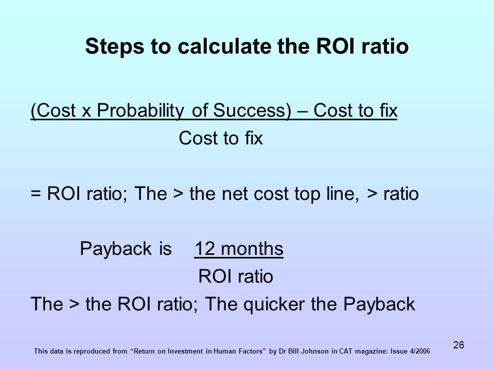 26 Steps to calculate the ROI ratio (Cost x Probability of Success) – Cost to fix Cost to fix = ROI ratio; The > the net cost top line, > ratio Payback is 12 months ROI ratio The > the ROI ratio; The quicker the Payback This data is reproduced from Return on Investment in Human Factors by Dr Bill Johnson in CAT magazine: Issue 4/2006