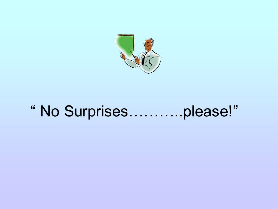 No Surprises………..please!