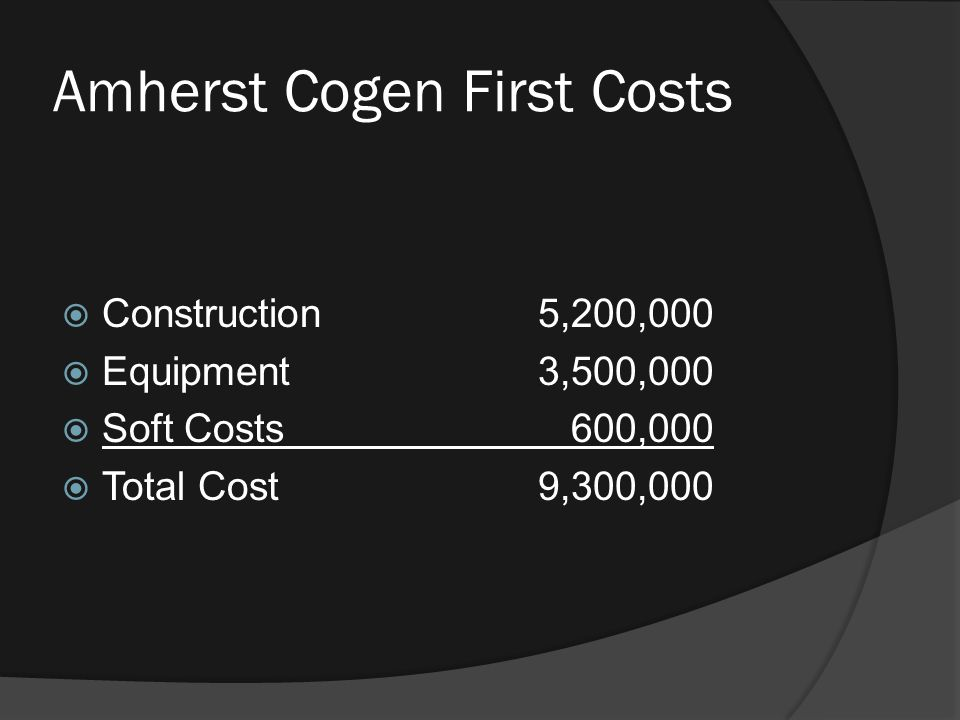 Amherst Cogen First Costs  Construction5,200,000  Equipment3,500,000  Soft Costs 600,000  Total Cost9,300,000