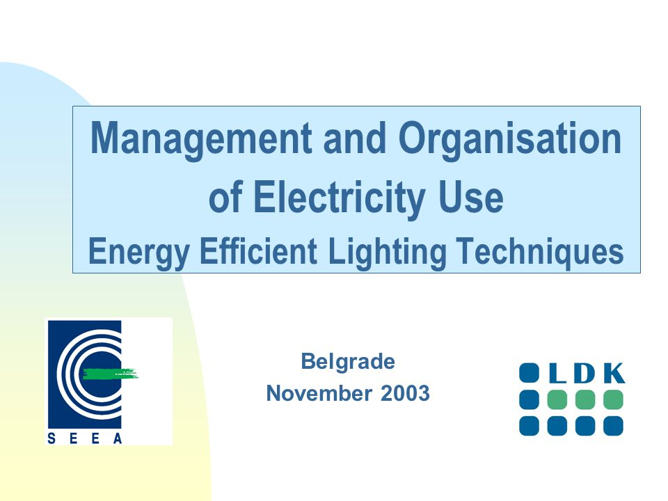Management and Organisation of Electricity Use Energy Efficient Lighting Techniques Belgrade November 2003
