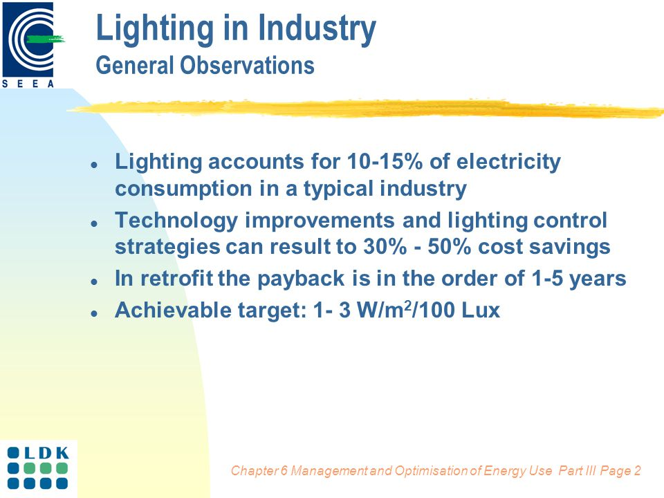 Chapter 6 Management and Optimisation of Energy Use Part III Page 2 Lighting in Industry General Observations l Lighting accounts for 10-15% of electricity consumption in a typical industry l Technology improvements and lighting control strategies can result to 30% - 50% cost savings l In retrofit the payback is in the order of 1-5 years l Achievable target: 1- 3 W/m 2 /100 Lux