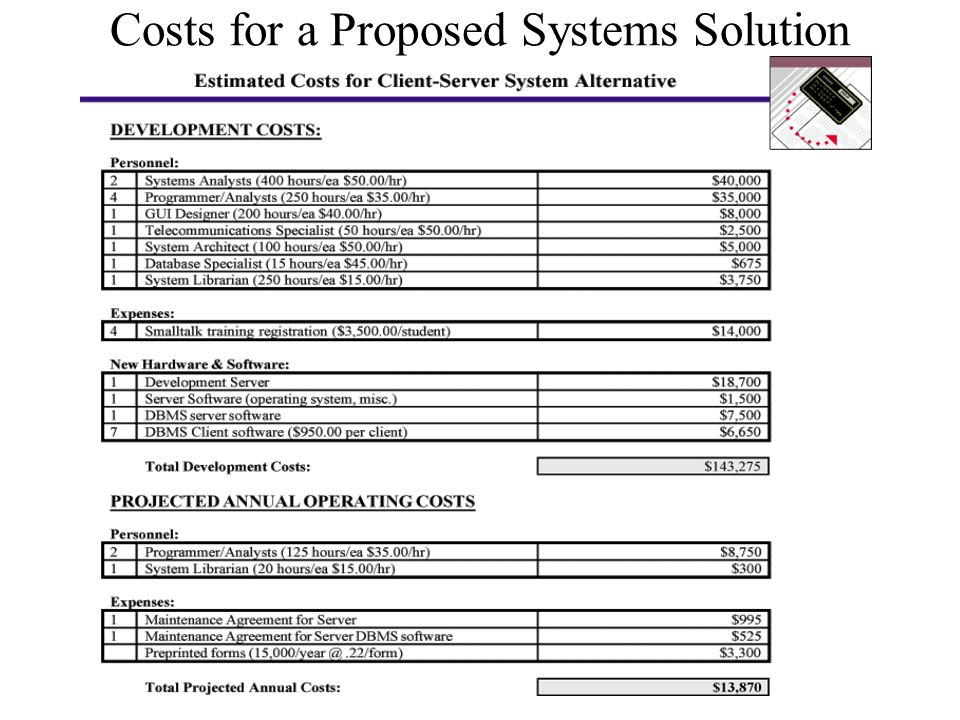 Costs for a Proposed Systems Solution