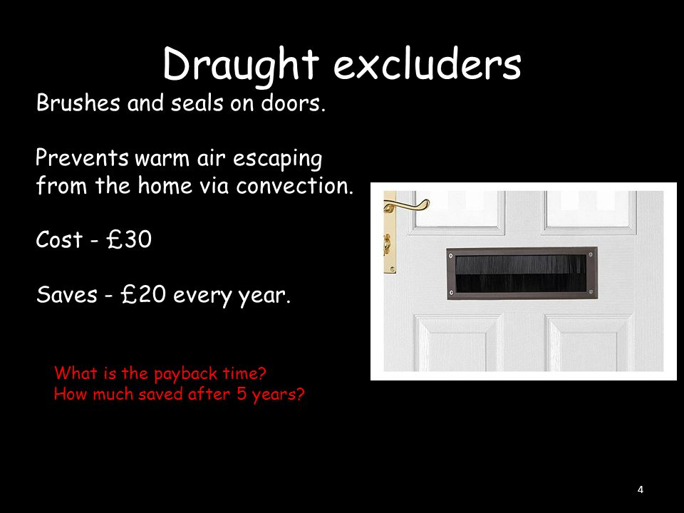 Draught excluders 4 Brushes and seals on doors. Prevents warm air escaping from the home via convection. Cost - £30 Saves - £20 every year. What is th