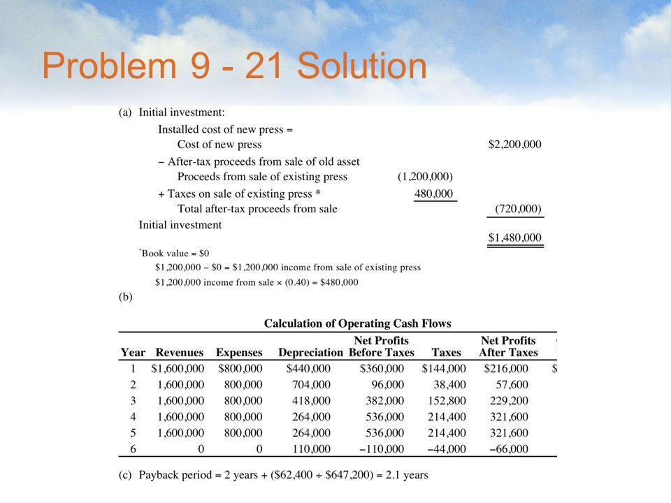 Problem 9 - 21 Solution