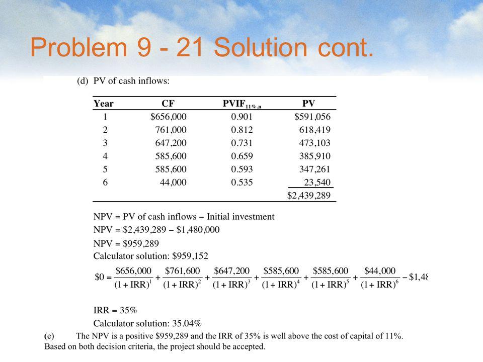 Problem 9 - 21 Solution cont.