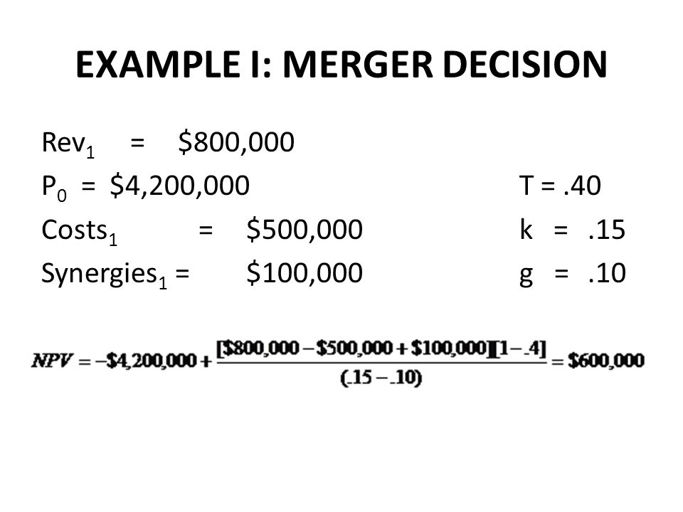 EXAMPLE I: MERGER DECISION Rev 1 =$800,000 P 0 = $4,200,000 T =.40 Costs 1 =$500,000k =.15 Synergies 1 =$100,000g =.10
