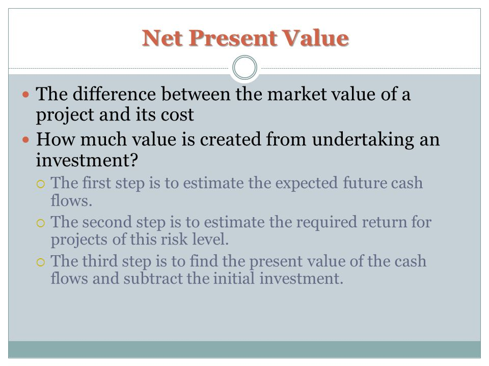 Net Present Value The difference between the market value of a project and its cost How much value is created from undertaking an investment.