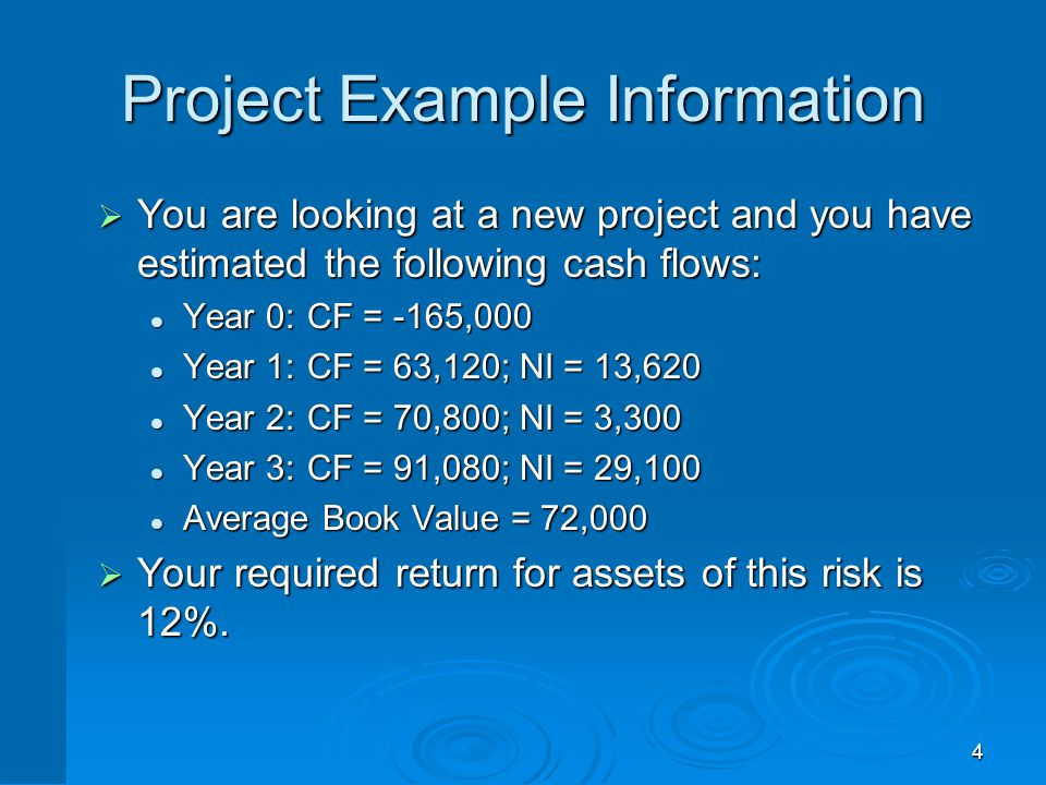 4 Project Example Information  You are looking at a new project and you have estimated the following cash flows: Year 0:CF = -165,000 Year 0:CF = -16