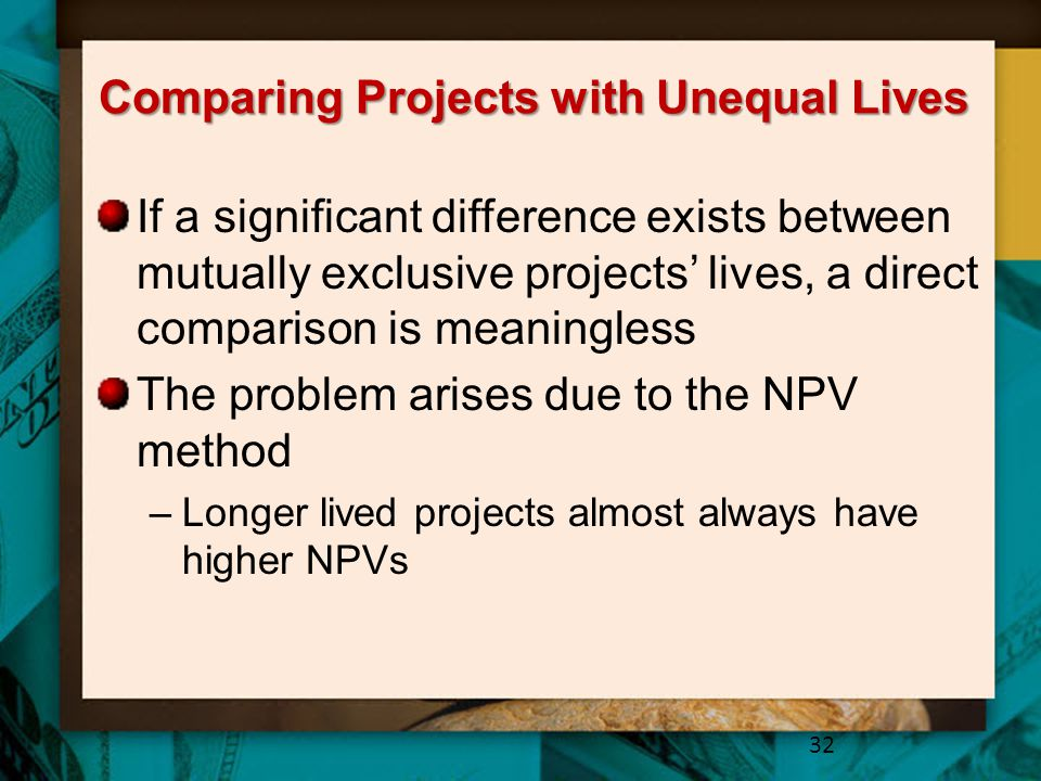 Comparing Projects with Unequal Lives If a significant difference exists between mutually exclusive projects' lives, a direct comparison is meaningless The problem arises due to the NPV method –Longer lived projects almost always have higher NPVs 32