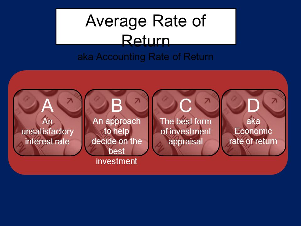 Average Rate of Return aka Accounting Rate of Return A An unsatisfactory interest rate C The best form of investment appraisal D aka Economic rate of