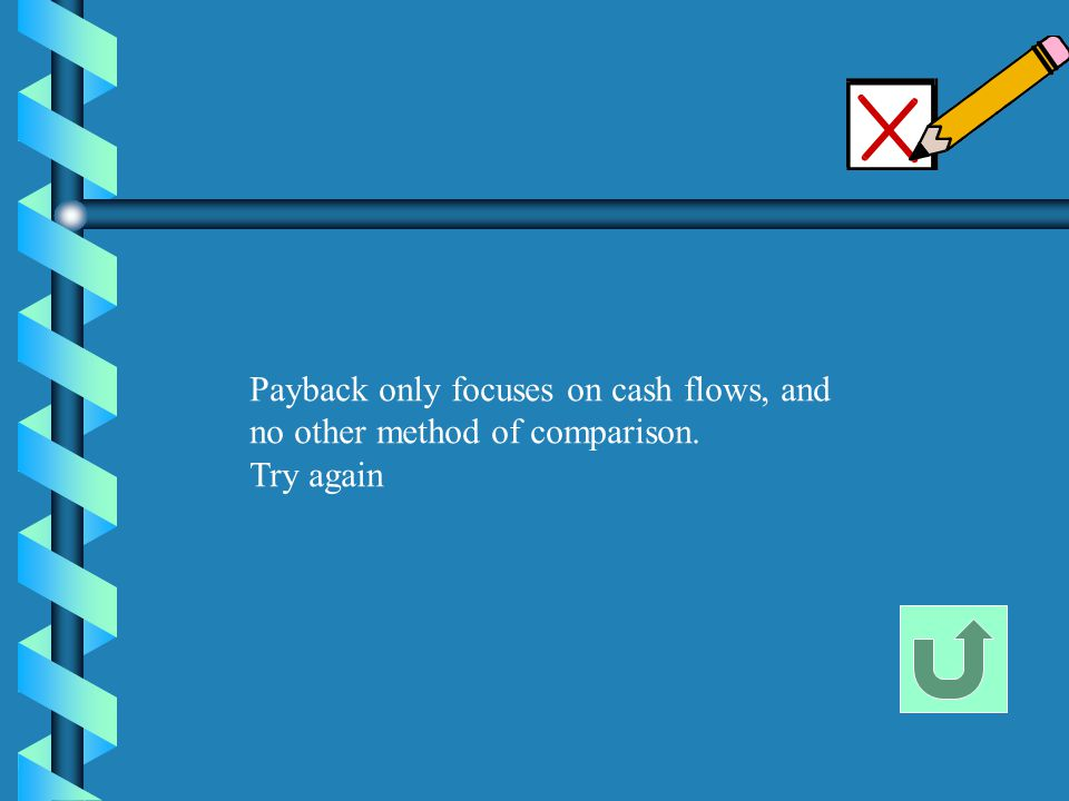 Payback only focuses on cash flows, and no other method of comparison. Try again