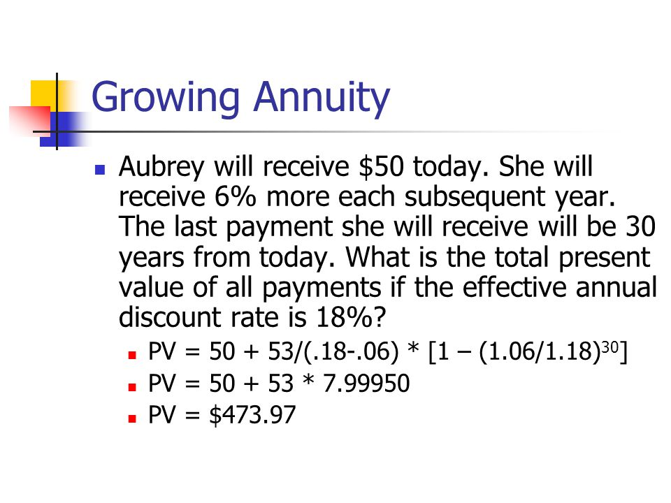 Growing Annuity Aubrey will receive $50 today. She will receive 6% more each subsequent year.