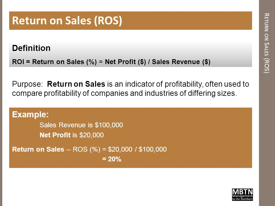 R ETURN ON I NVESTMENT (ROI) Return on Investment (ROI) Purpose: Return on Investment is one way of considering profits in relation to capital invested.