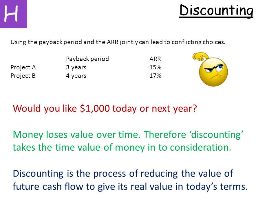 H Discounting Using the payback period and the ARR jointly can lead to conflicting choices.