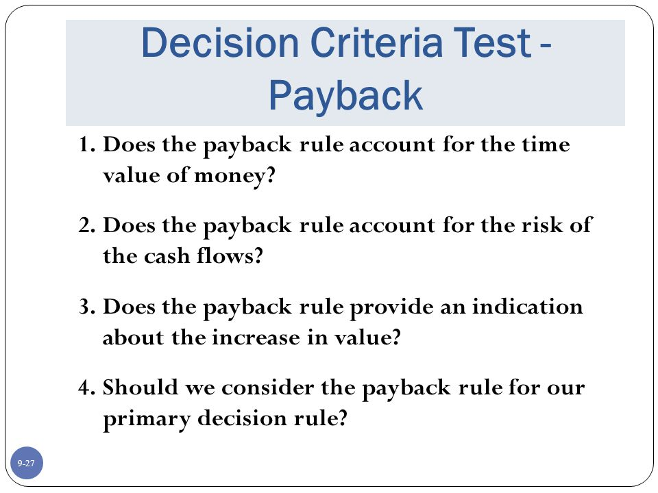 9-27 Decision Criteria Test - Payback 1.Does the payback rule account for the time value of money.