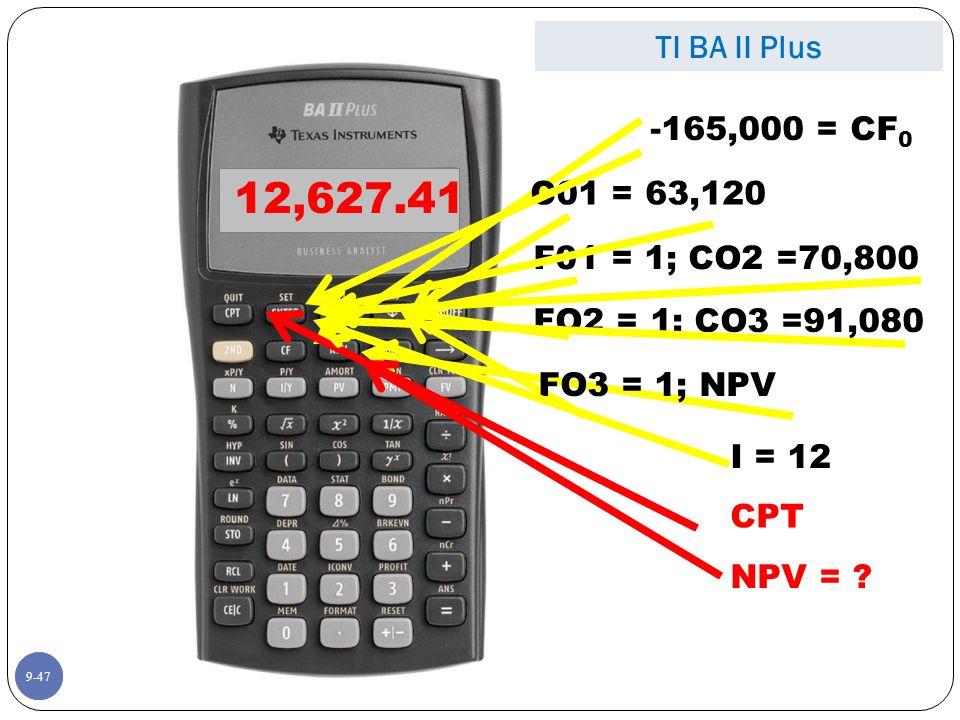 -165,000 = CF 0 I = 12 NPV = .