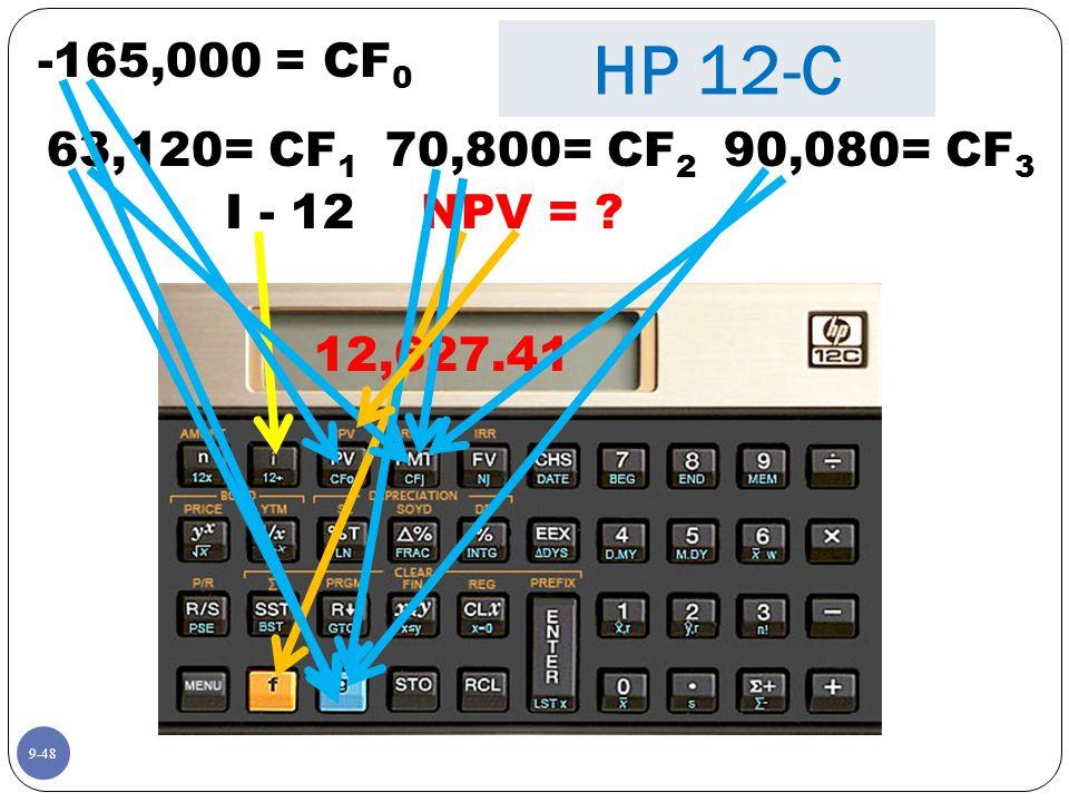 9-48 -165,000 = CF 0 I - 12 63,120= CF 1 NPV = 12,627.41 HP 12-C 90,080= CF 3 70,800= CF 2