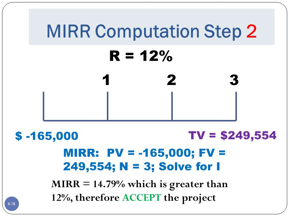 9-78 MIRR Computation Step 2 R = 12% $ -165,000 123 TV = $249,554 MIRR: PV = -165,000; FV = 249,554; N = 3; Solve for I MIRR = 14.79% which is greater than 12%, therefore ACCEPT the project