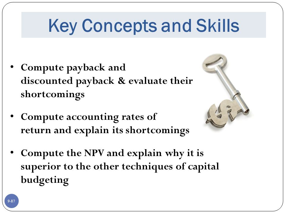 9-87 Key Concepts and Skills Compute payback and discounted payback & evaluate their shortcomings Compute accounting rates of return and explain its shortcomings Compute the NPV and explain why it is superior to the other techniques of capital budgeting