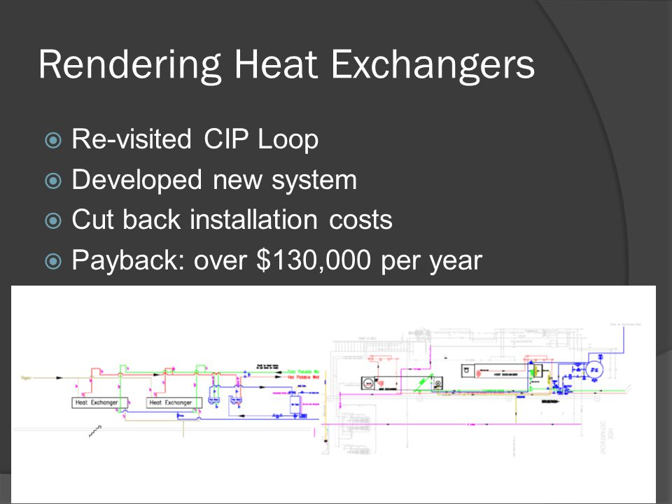 Rendering Heat Exchangers  Re-visited CIP Loop  Developed new system  Cut back installation costs  Payback: over $130,000 per year
